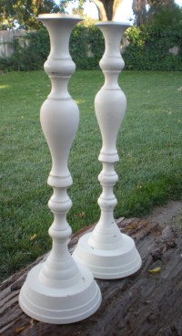 Tall Candle holders Candlesticks Off White Ornate Wedding Home