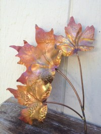 Vintage COPPER LEAVES Wall Hanging Wall Art