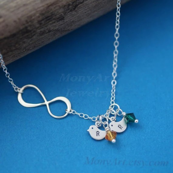 Infinity Necklace Personalized Initial Birthstone By Monyart