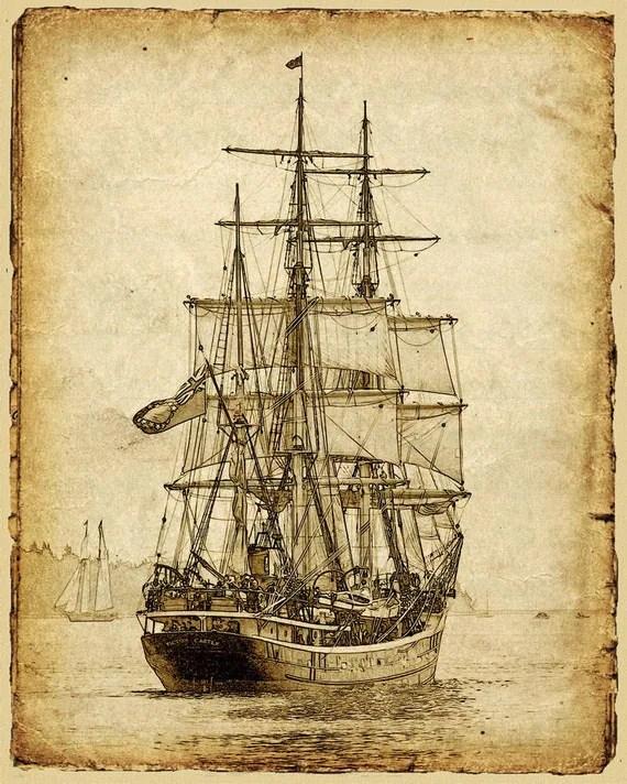 Items similar to Vintage Style Sailing Ship Art