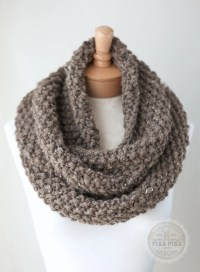 Knit infinity scarf chunky knit scarf in Taupe by ...