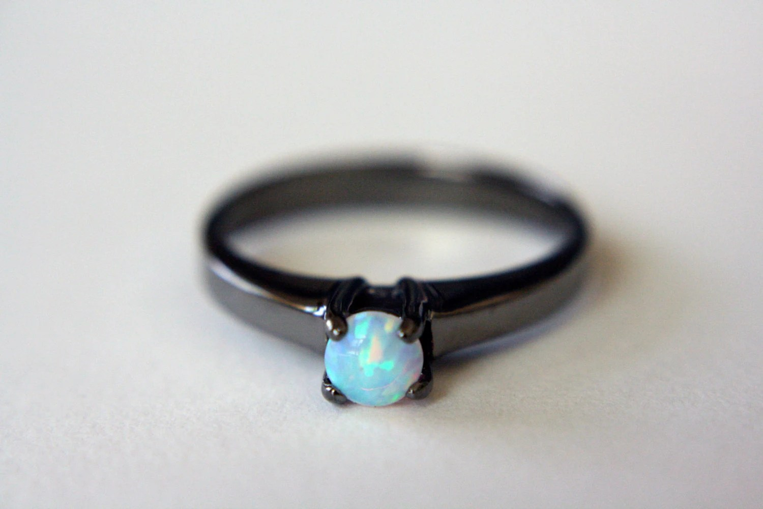 non traditional ring opal wedding ring sets Opal Solitaire Ring in Black Rhodium opal engagement ring opal ring black opal ring sterling silver opal ring opal jewelry