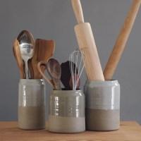 kitchen utensil holder sand stoneware w/ grey by ...