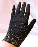 Vintage 1950s Beaded Black 2-button Length gloves