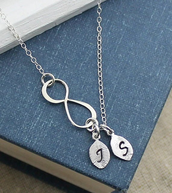 Sideways Infinity Necklace With Initials Initial Necklace
