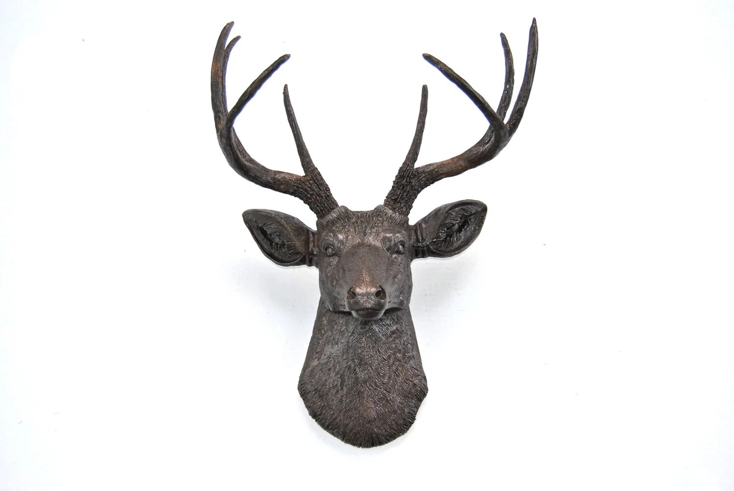 Faux Stag Head Faux Deer Head In Dark Brown With Copper Reflective Flakes