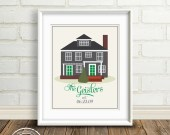 Custom Home Illustration : New House Gift - Family's First Home, Cabin, Vacation Keepsake, Housewarming Gift, Real Estate Closing Gift
