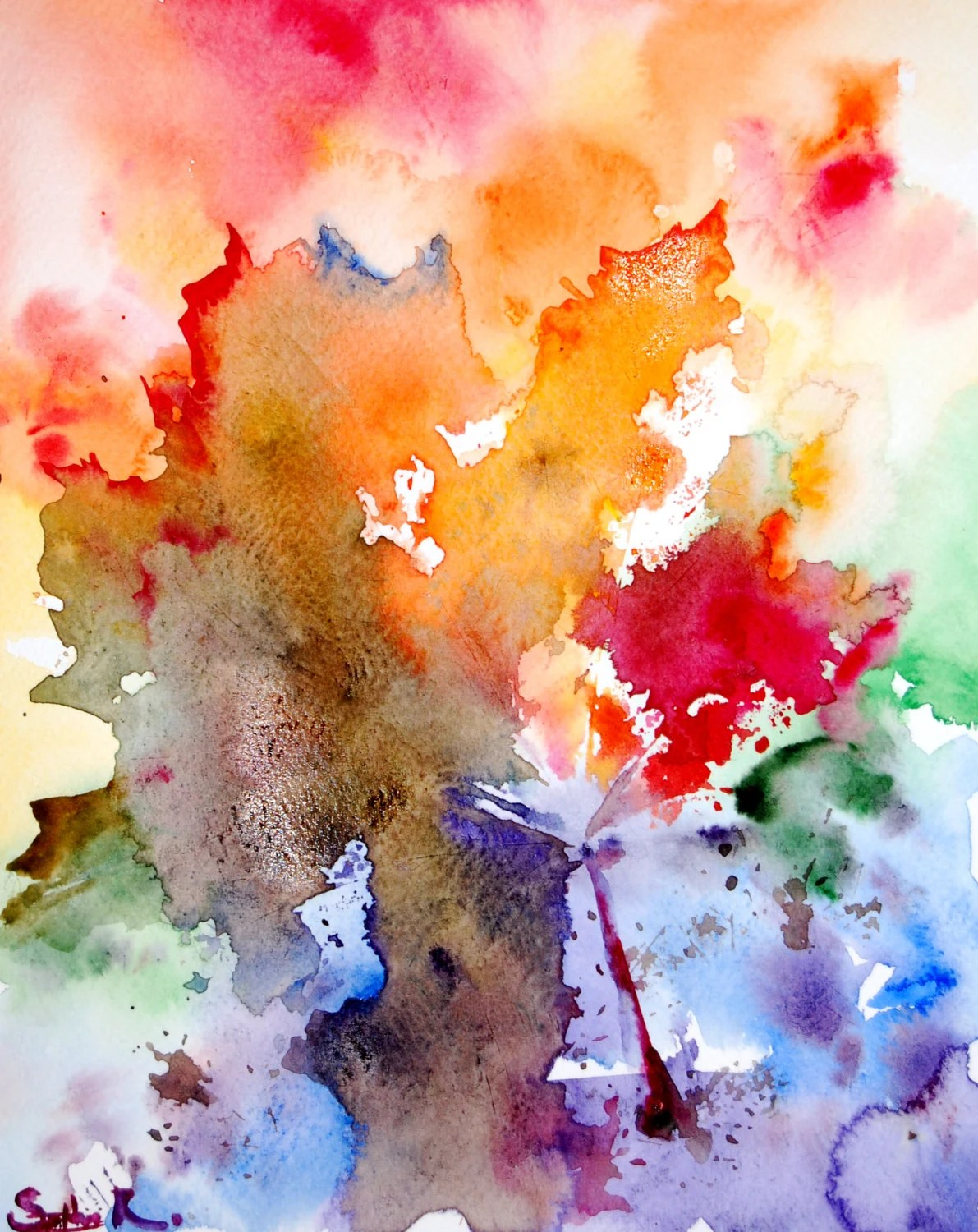 Fall Wooden Wallpaper Original Watercolor Painting Abstract Rainbow Leaves