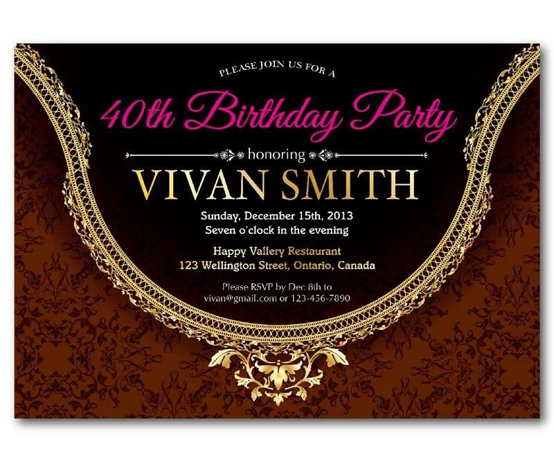 40th Birthday Invitation Women Elegant Glitter Gold Birthday