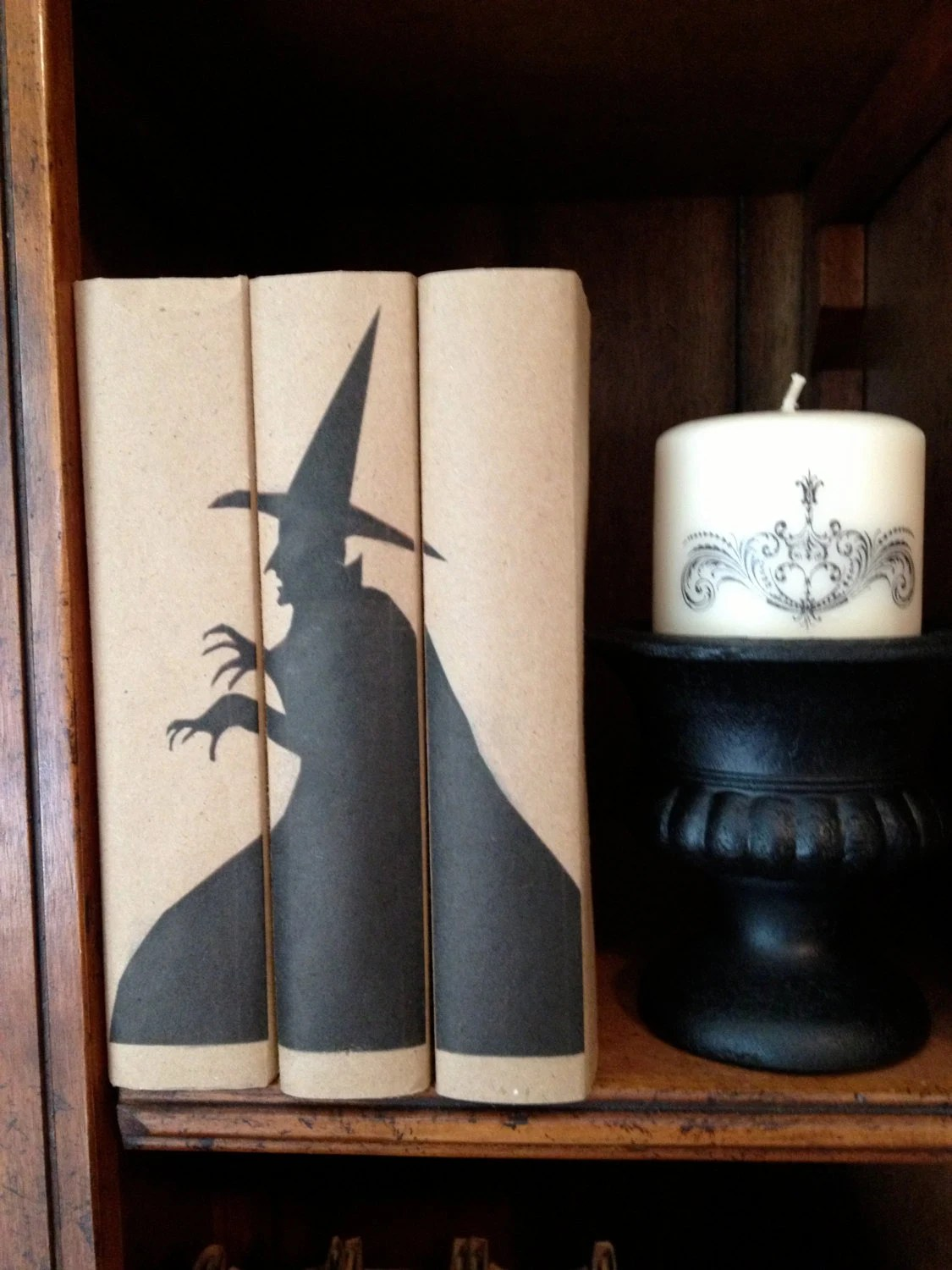 Books Decor Halloween Book Decor Spooky Book Bundle Vintage By Paperdoxie