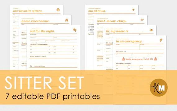 Sitter Set 7 Editable Babysitter/House Sitter/Pet Sitter