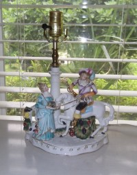 Vintage German Porcelain Figurine Lamp