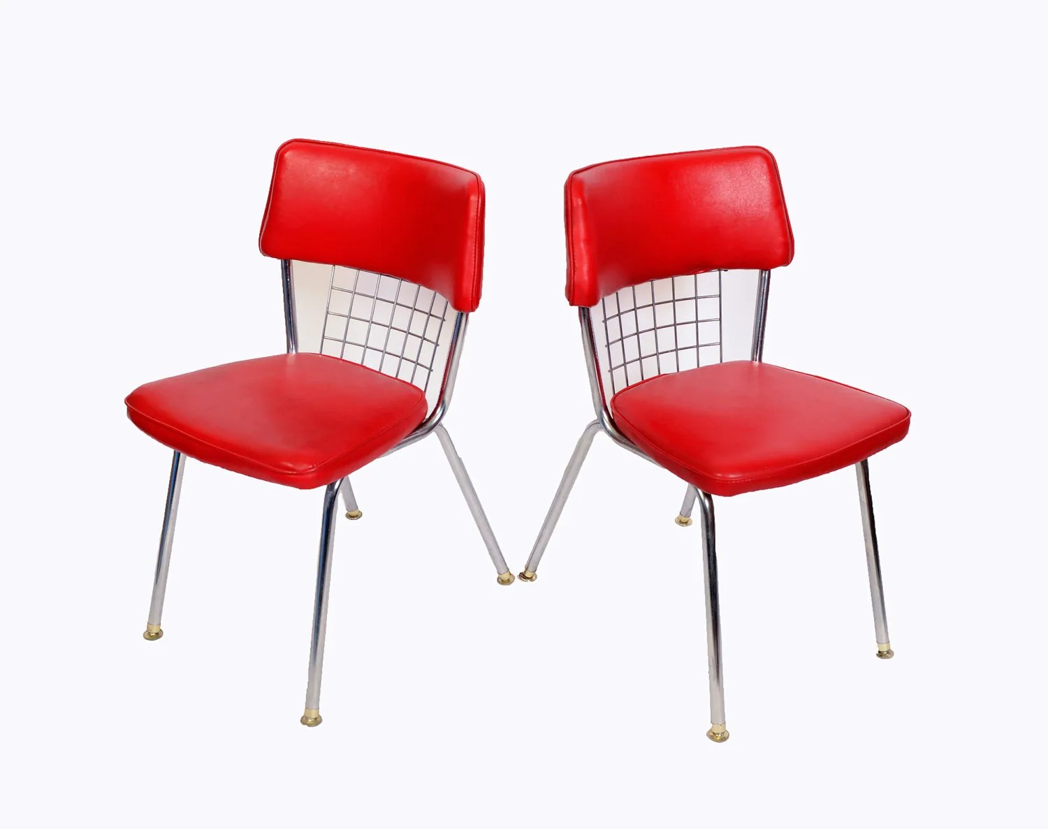Chrome Dinette Chairs Set Of 6 Red Seats Howell Modern Metal Furniture Retro Diner Haute Juice