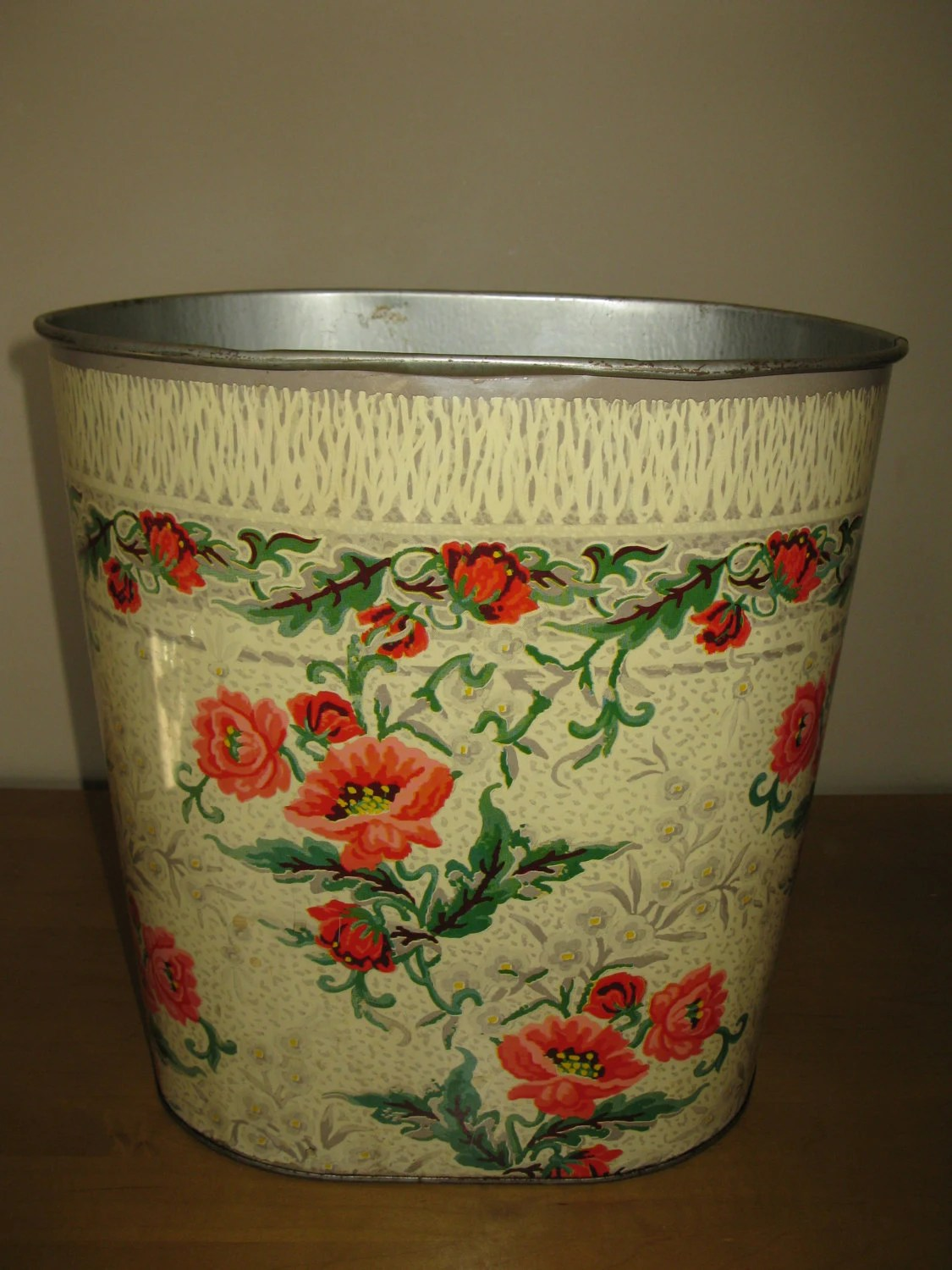 Vintage Kitchen Trash Can Retro Metal Trash Garbage Waste Can Poppies By Oakiesclaptrap