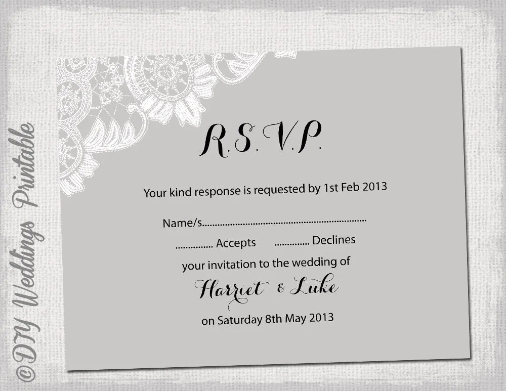 wedding reply cards template