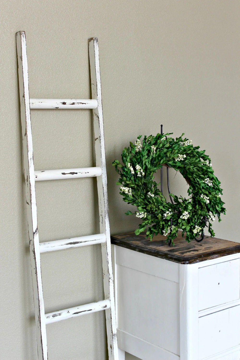 Ladder Vintage Rustic Blanket Ladder Distressed Pot Rack