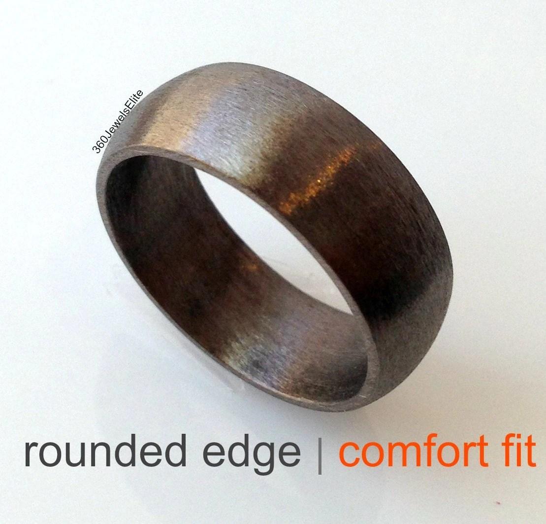 domed wedding band brushed gold wedding band Comfort fit wedding band elysian black wedding ring for men domed ring rounded edge ring brushed finish wedding ring ring for him