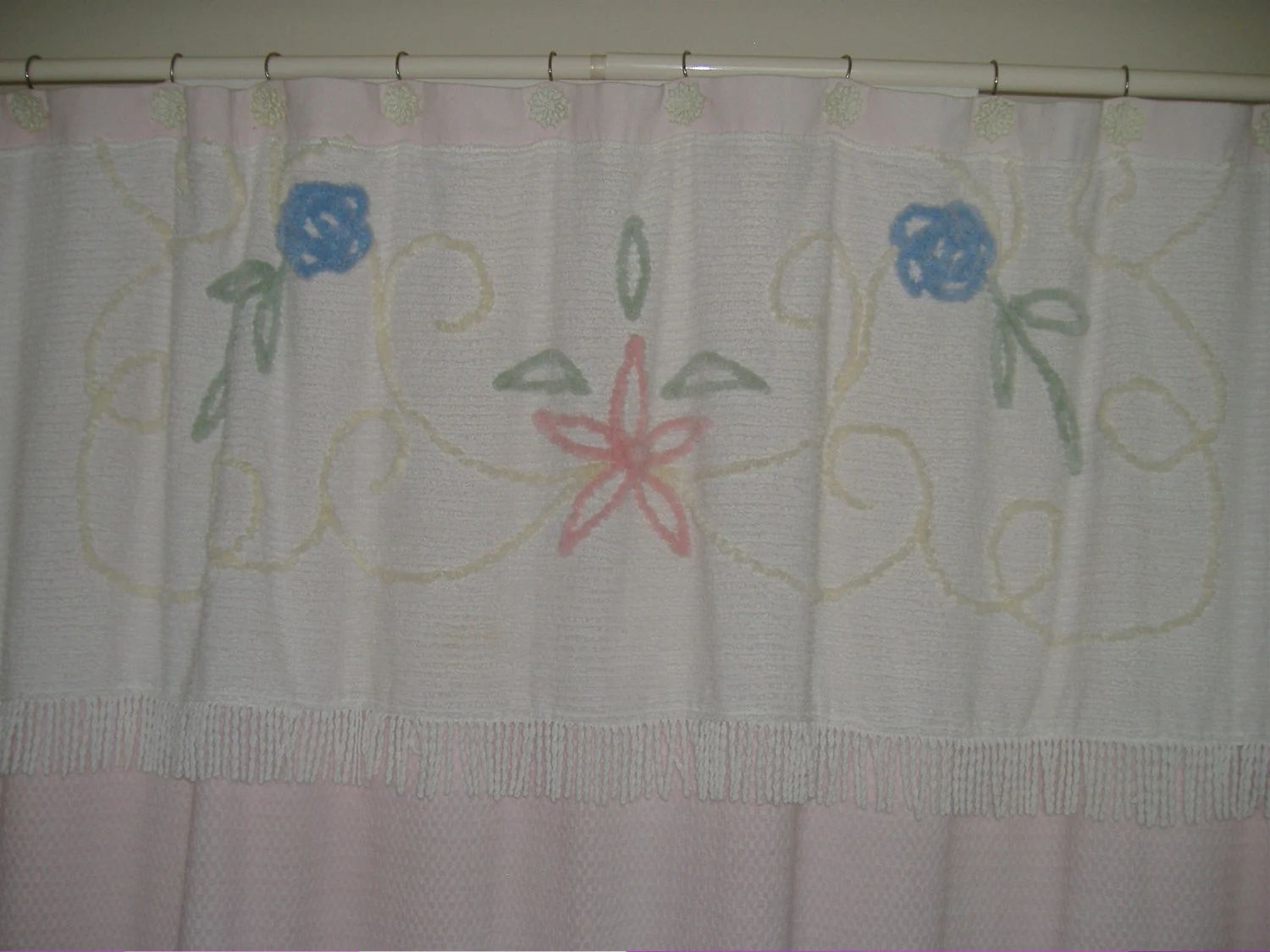Shabby chic shower curtain with vintage chenille bedspread