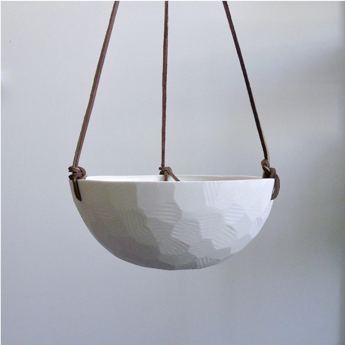 Hanging Planters Australia Hanging Ceramic Porcelain Planter With Leather By