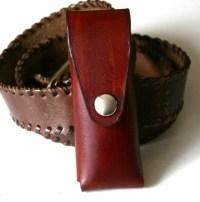 Pocket Knife Holder. Brown Leather pocket knife holder for