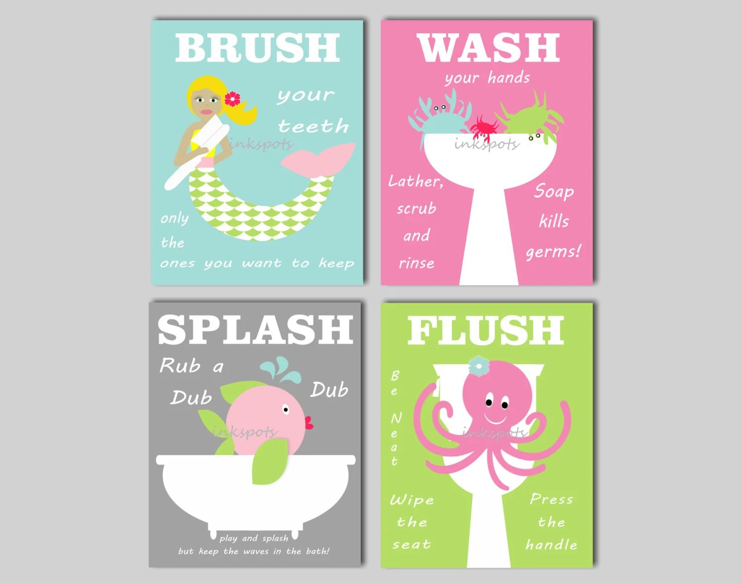 Poster Für Badezimmer Mermaid Bathroom Wall Art Kids Bathroom Prints Brush Your
