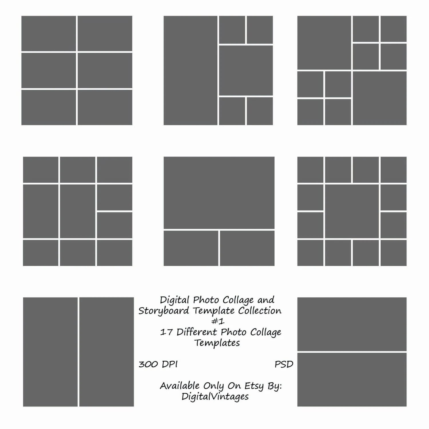 Instant Download 12x12 Storyboard Photographers Template 17 - digital storyboard templates