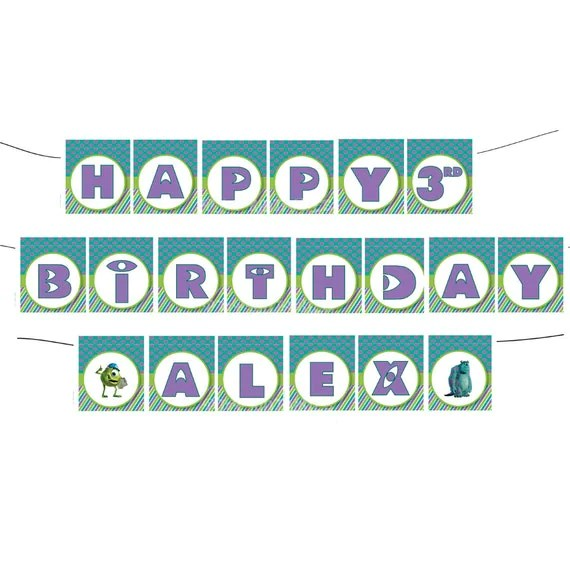 Happy Birthday Monsters Inc Banner with name - Custom Digital File