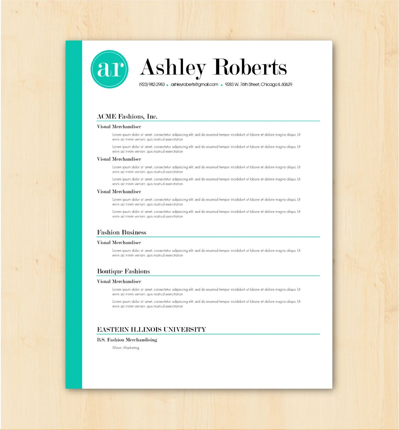 chicago resume template word