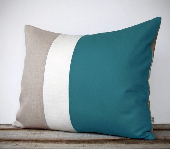 Sofa Fabric Name 16x20 Color Block Pillow In Teal Cream And Natural Linen By