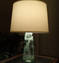 Giraffe Glass Lamp Green Hand Carved Glass by karenskarvings