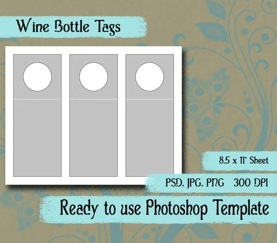 Scrapbook Digital Collage Photoshop Template 3 x 7 - wine tag template