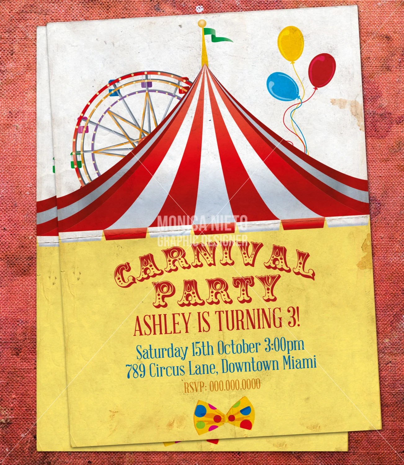 Custom Printable Carnival Circus Birthday Invitation/ Retro Circus - Circus Party Invitation