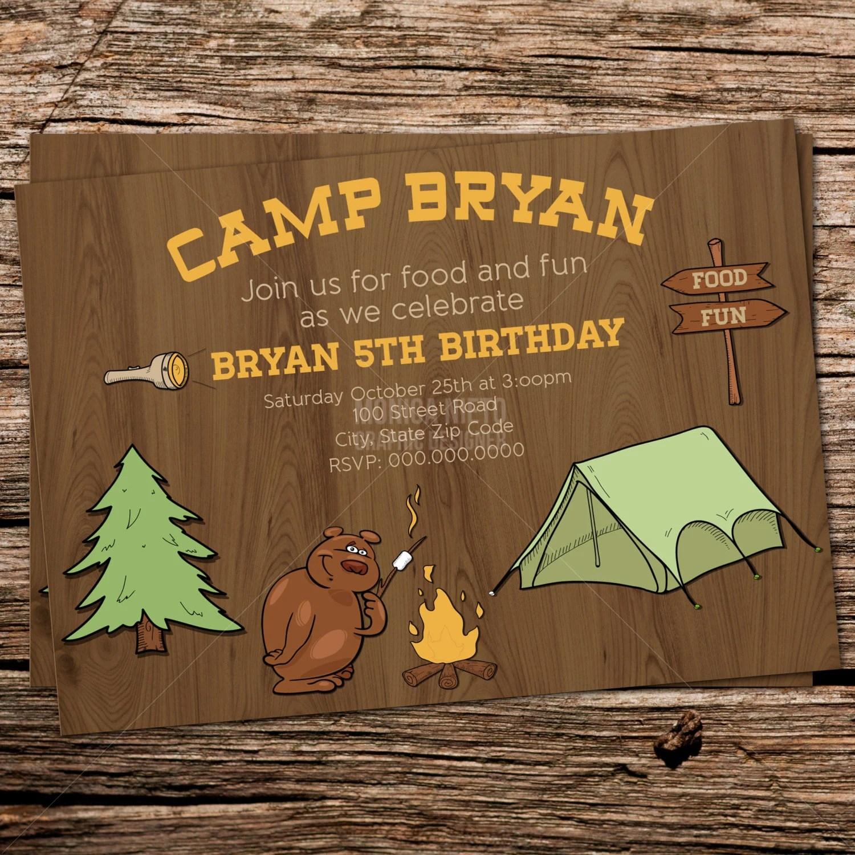 Camping Birthday Party Invitation/ Campsite Invite/ Camp Day/ Boys - free printable camping invitations