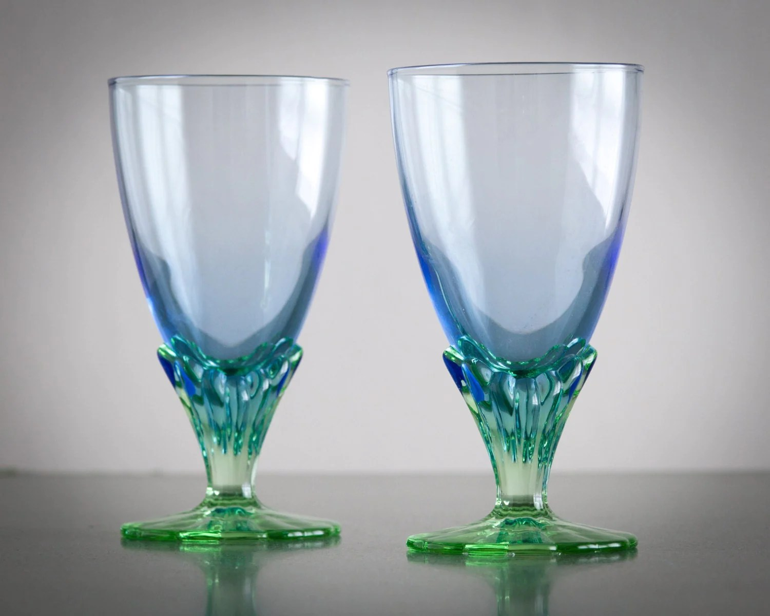 Goblet Style Wine Glasses Blue And Green Art Nouveau Style Ombre Goblets Wine Glasses