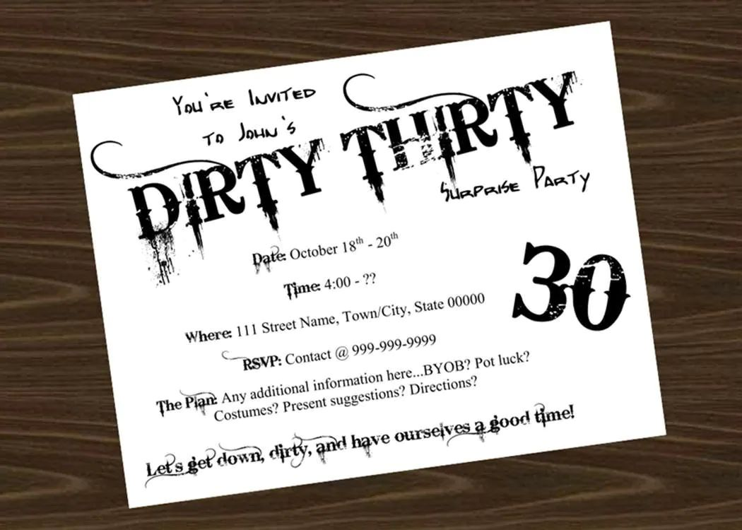 Dirty Thirty Birthday Party Invitation By Littlebitmooredesign