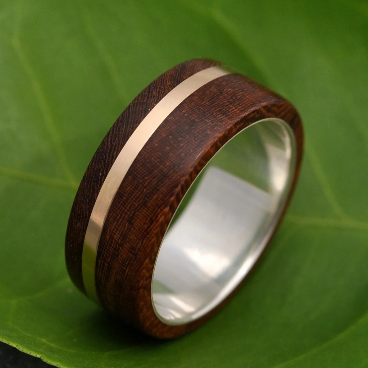 mens wood wedding band solsticio oro wood mens wedding bands wood wedding ring ecofriendly recycled 14k zoom
