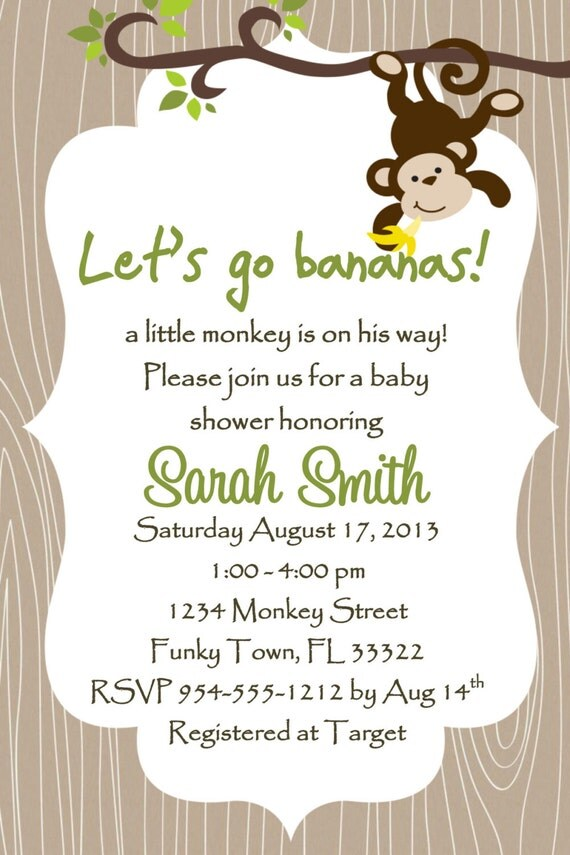 Monkey Baby Shower Invitations Templates Free - baby shower invitations templates free