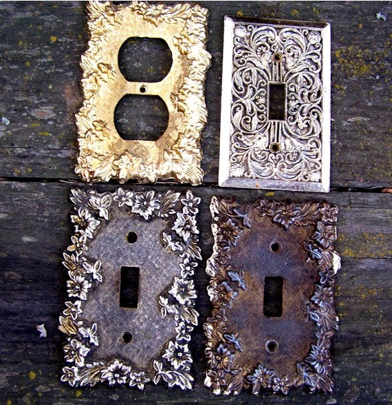 Decorative Outlet Covers 4 Vintage Decorative Brass Switch Plate Outlet By