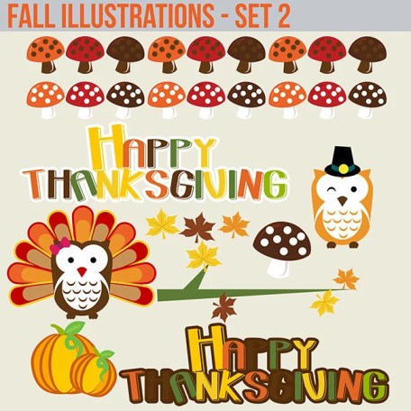 Holiday Fall Autumn thanksgiving owls and turkey mushrooms and Text art clipart graphics set