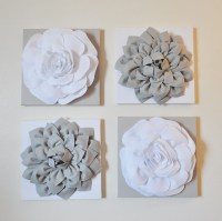 Wall Decor SET OF FOUR Gray and White Flower Wall by bedbuggs