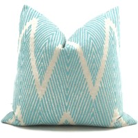 Aqua and Gray Ikat Chevron Decorative Pillow Cover 12x20
