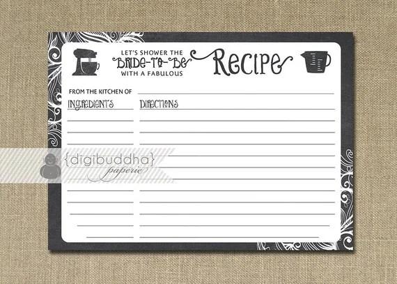 Recipe Card INSTANT DOWNLOAD Chalkboard Black White Bridal - recipe card