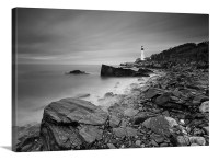 Beach Decor Canvas Wall Art Black White Lighthouse Ocean Beach