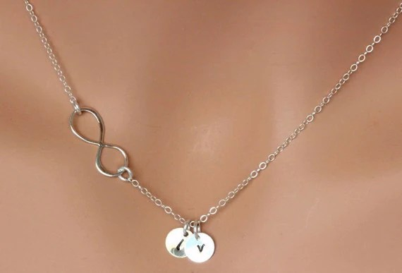 Mother And Daughter Necklace Infinity Necklace Initial