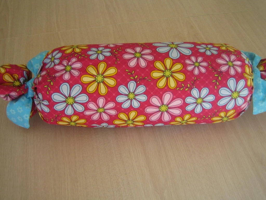 Neck Roll Pillow With Flower Pattern 25 Long X 6 By