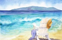 Ocean painting Hawaiian Beach Beach Chair Watercolor