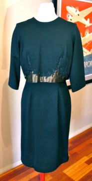 Vintage 1950s Dress with Bolero Satin and Beads - M