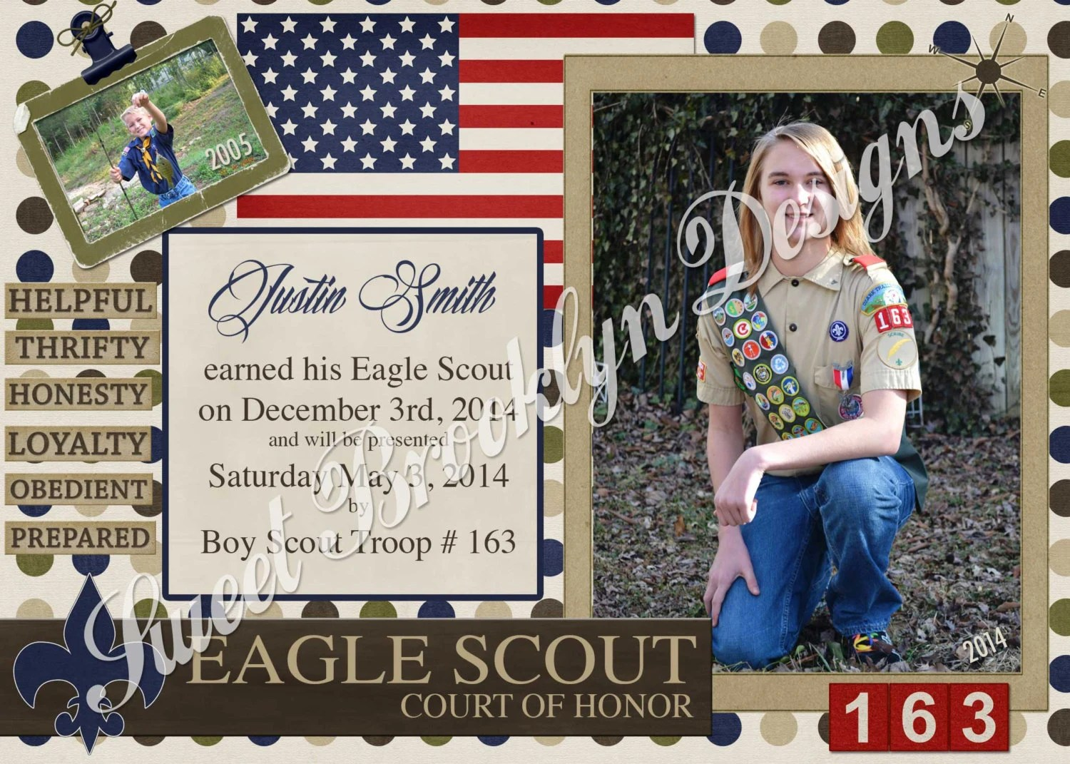 Boy Scout Eagle Award Court Of Honor Invitation Printed Or Pdf