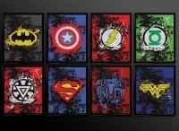 Set of 2 prints Superhero Wall Art Decor Superman Batman