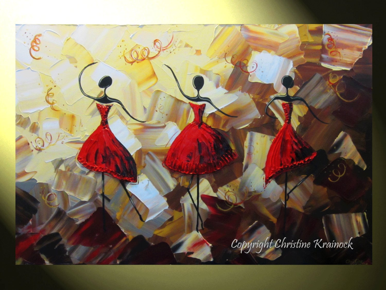 Abstract Painting Of Girl Dancing Original Art Abstract Dancers Painting Red By